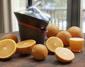 Citrus juicer with oranges and a glass of juice 3D model