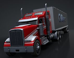 3D model Semi Truck with Trailer Rigged C4D