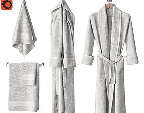 3D White bathrobe and towels