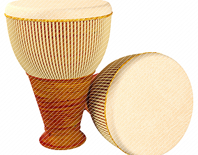 Gedombak Drum percussion traditional malay 3D model