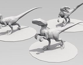 UthaRaptor three poses 3D printable model dinosaur