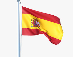 Animated Flag of Spain 3D asset