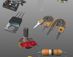 Pack of electronic parts 3D