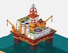 3D model isometric Big Oil Production Rig Platform