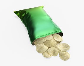 Potato chips package on ground with folds opened mockup 3D