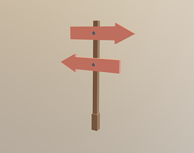 3D model Arrow Board Sign LOW POLY