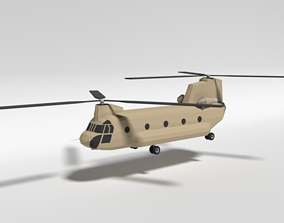 Low Poly Cartoon Boeing CH-47 Chinook Helicopter 3D asset