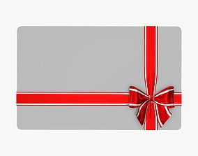 3D model Gift card with ribbon Christmas 02