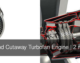 Full and Cutaway Turbofan Engine 3D model