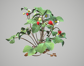 strawberries 3D model animated