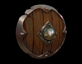 3D model low-poly Wooden Shield