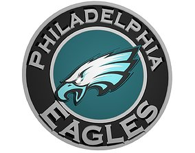 3D model Eagles logo in a circle