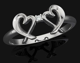 Double Loving Heart Ring 507 3D printable model