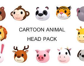 Cartoon Animal Head Pack 3D
