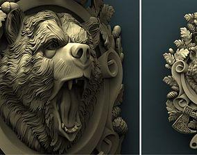 Bear medallion stl model for cnc