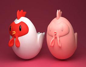Cartoon Chicken 3D printable model figurines