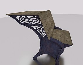 Rusty Cast Iron antique School Desk cast 3D