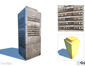Travel Sign Monument 3D asset