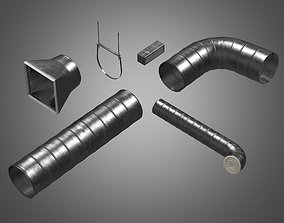 Metal Tube Ventilation Set - PBR Game Ready 3D model