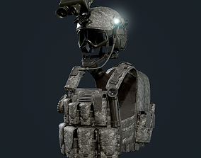 Military Gear Equipment Vest and Helmet Game 3D asset