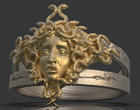 Gorgon Head Ring 3D printable model