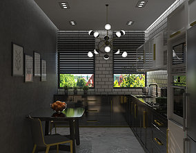 3D modern photorealistic kitchen