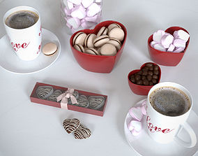 Romantic breakfast set 3D