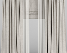 Beige curtains with tulle and roman blinds 3D model