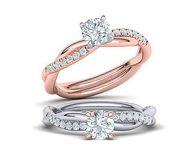 Gorgeous rope style twisted engagement ring 5mm stone 1