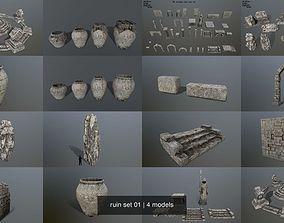 3D model ruin set 01