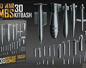 World War Bombs KITBASH bundle -30 Unique 3D model 2