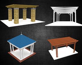 3D model Trellis pavilion stand alone structures pack 2