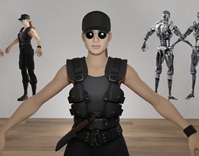 Sarah Connor Terminator Fortnite Skin T-Pose 3D model