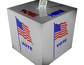 Ballot box with US flag and ballot paper 3D