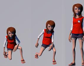 3D model animated cartoon girl animated