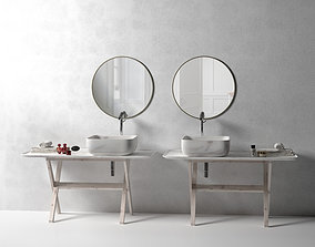 3D model Nabhi Washstands with Mirrors Perfumes and Towels