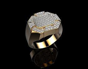 18K Yellow Gold Diamond Rings for Men 3D print model
