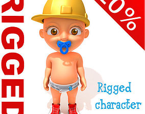 Worker baby Cartoon Rigged 3D