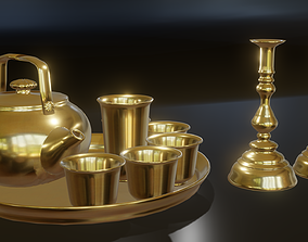 3D model Real golden tea coffee set with