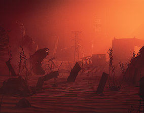 3D model Steampunk wasteland ruins desert The end of the