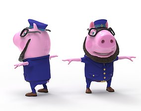 Pig Captain-cartoon character 3D model