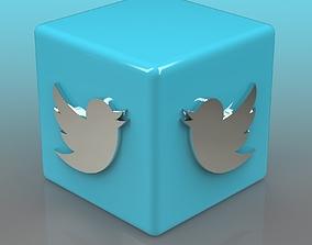 Twitter Logo color 3D model