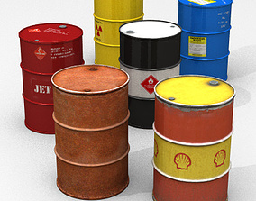 3D model 55 Gallon Drum Collection high poly