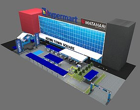3D model Booth stage and tent bazaar carnival