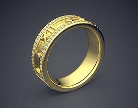3D printable model Golden Diamond Ring With Roman Date