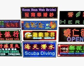 Neon Sign Pack City Environment Street Elements 3D asset 1