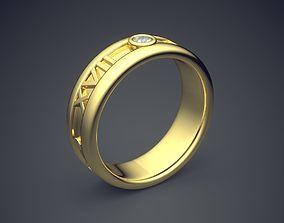 Classic Golden Engagement Ring 3D print model 5
