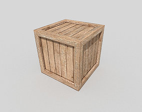 3D asset VR / AR ready low poly wooden box