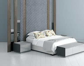 Bed with Quilted Headboard 3D nightstand