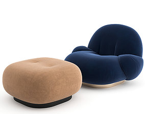 3D Pacha Lounge Chair with armrest by GUBI